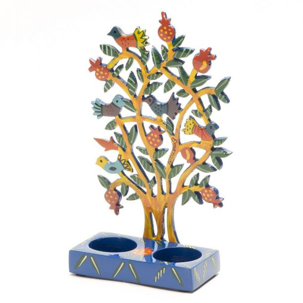 Shabbat Candlesticks - Pomegranate Tree (Yellow)-1