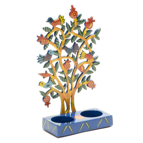 Shabbat Candlesticks - Pomegranate Tree (Yellow)-3