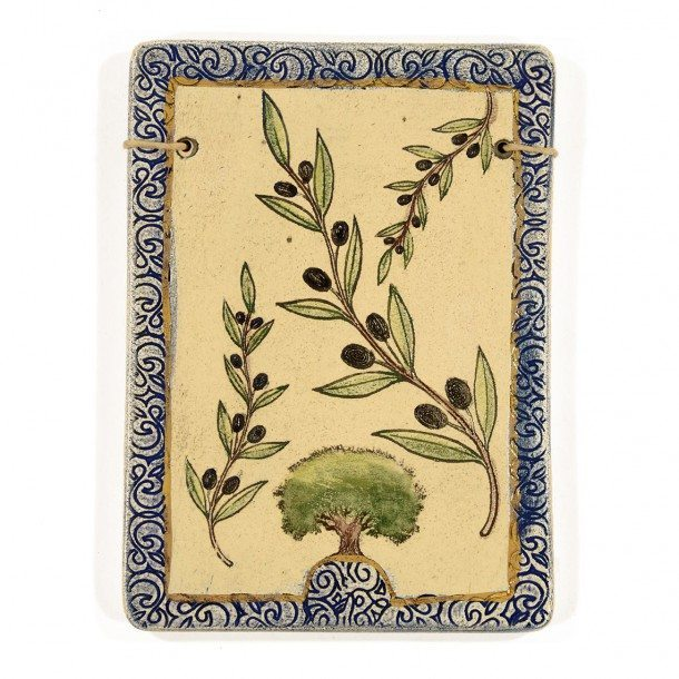 The Seven Species Ceramic Plaque - Olive-1