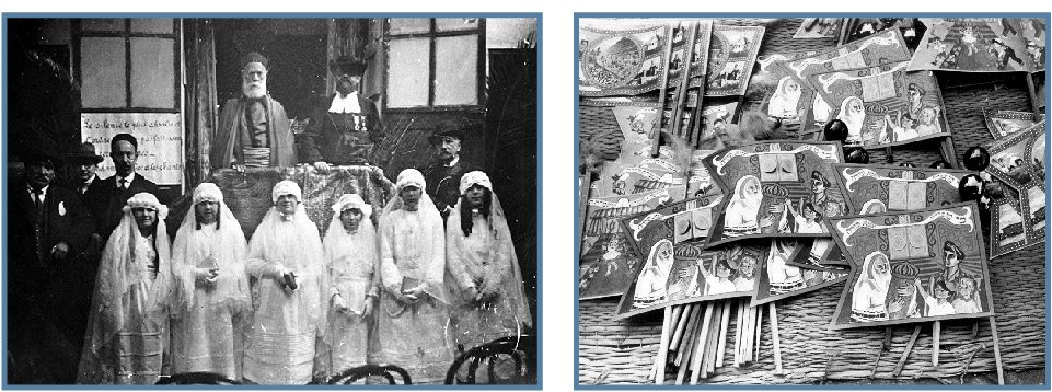 left: Bat Mitzvah girls with Rabbi Boccara (left), at the first such ceremony ever held in Tunisia, Tunis, Tunisia, 1930s. Beit Hatfutsot, The Visual Documentation Center, courtesy of Roland Fellous, Sarcelles right: Simhat Torah banners in a stall in Tel Aviv, Israel, 1950s. Photo: Leni Sonnenfeld. Beit Hatfutsot, The Oster Visual Documentation Center, Sonnenfeld Collection