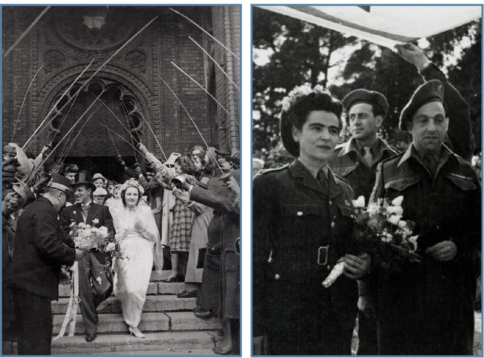 left: The wedding of fencing champion Alfred Nobel to Violetta Nagel, Dohány Synagogue, Budapest, Hungary, 1941 Beit Hatfutsot, The Oster Visual Documentation Center, courtesy of Violetta Nobel right: Hans Engelsman and Zifri nee Moskowitz on their wedding day wearing British Army uniforms, Napoli, Italy, April 1944 Beit Hatfutsot, The Oster Visual Documentation Center, courtesy of Judy Barkan